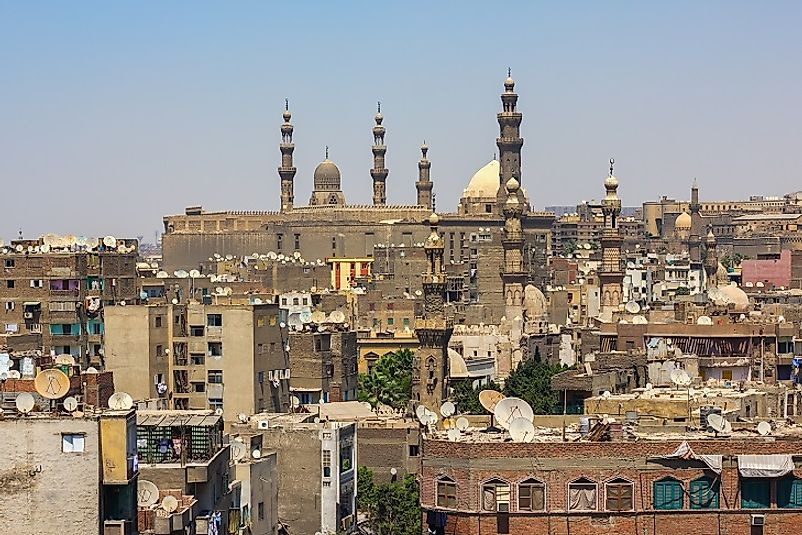 Ancient minarets contrasts modern satellite television dishes in Cairo, Egypt, the largest city in the Middle East.