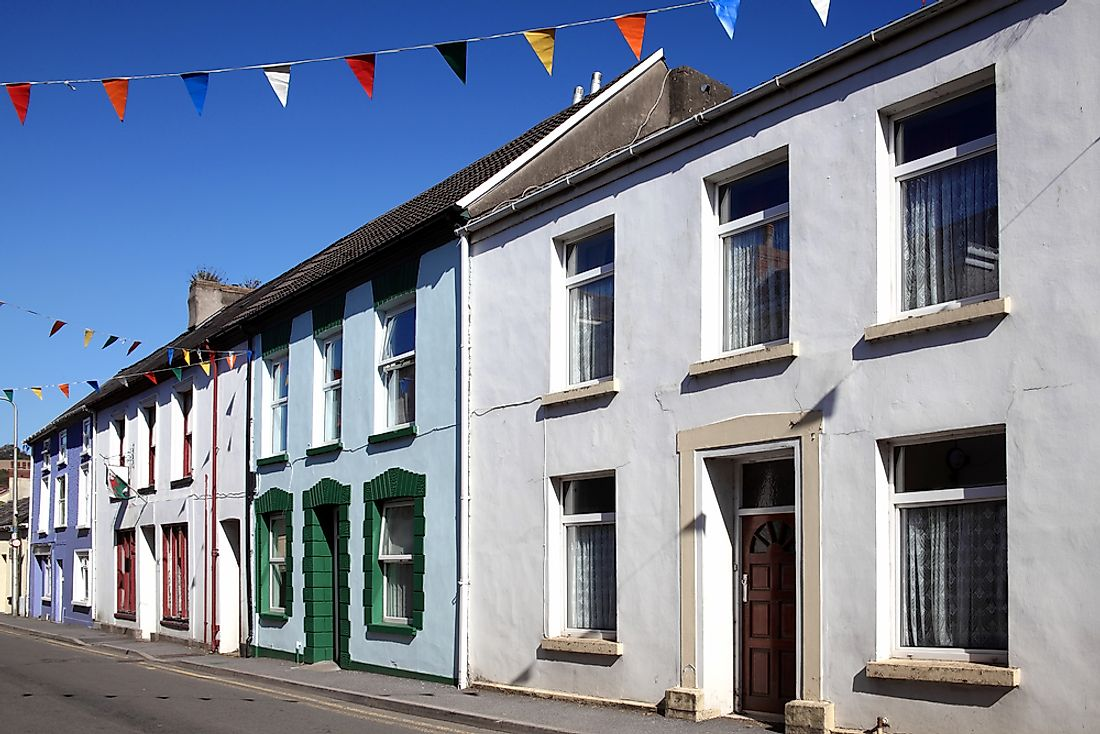 Colorful terraced houses in Kidwelly, Wales.