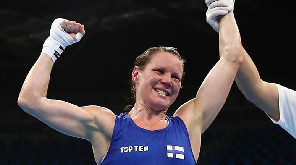 60-kilogram Finnish boxer Mira Potkonen adds to her country's medal totals with a Bronze in 2016.