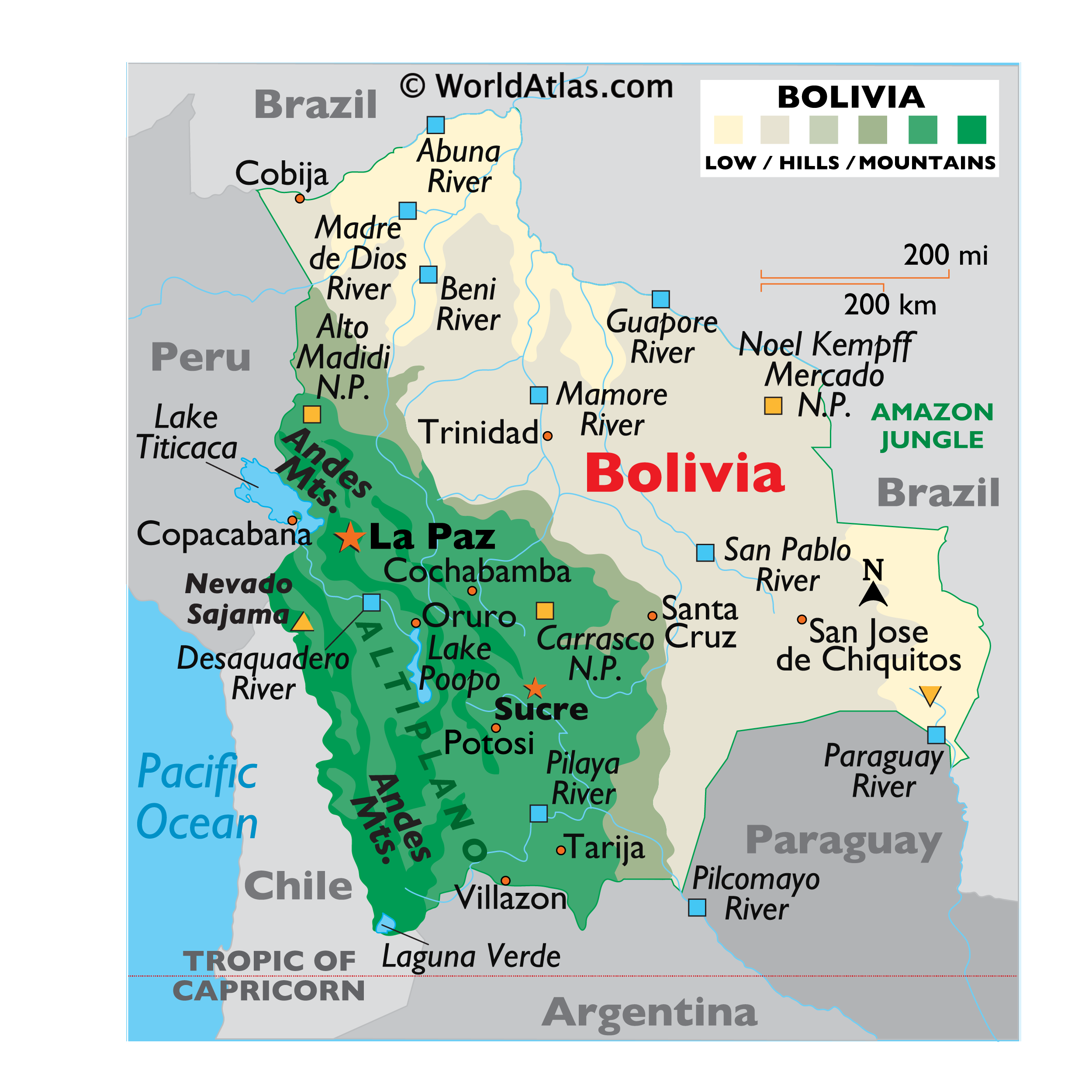 Physical Map of Bolivia showing relief, rivers, mountains ranges, major lakes, important cities, bordering countries, and more.
