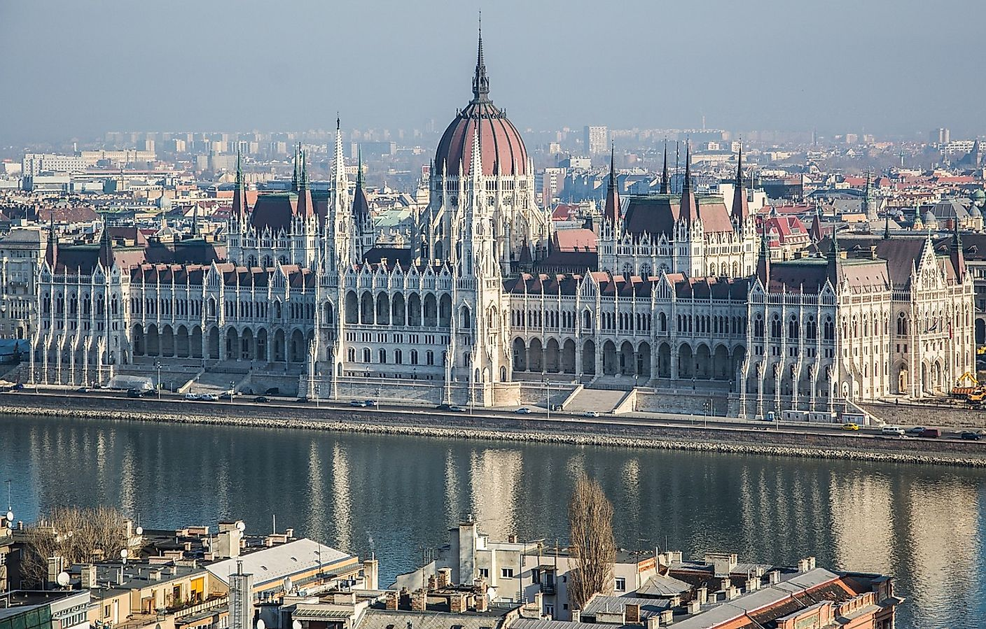 The Hungarian Parliament Building as seen from across the Danube river on the Buda side of the city.