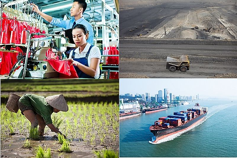 Light and heavy industry, agriculture, and mining in China all contribute to its massive export volume and high positive trade balance.