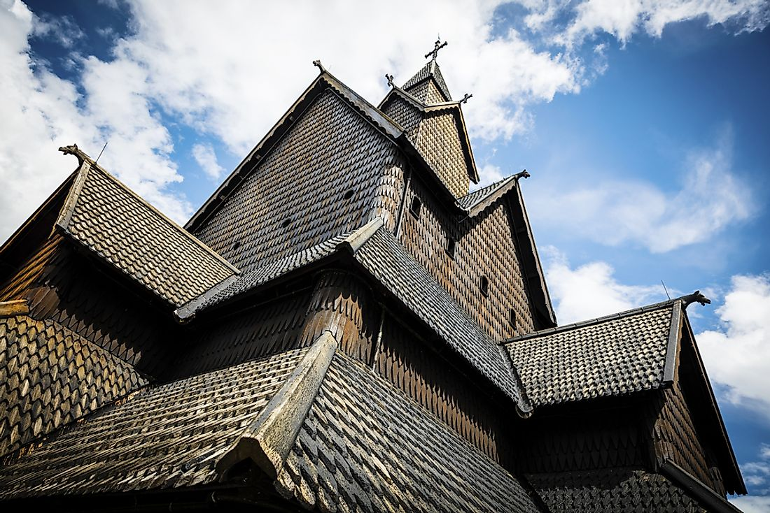 The details of Eidsborg Stave Church in Telemark, Norway.