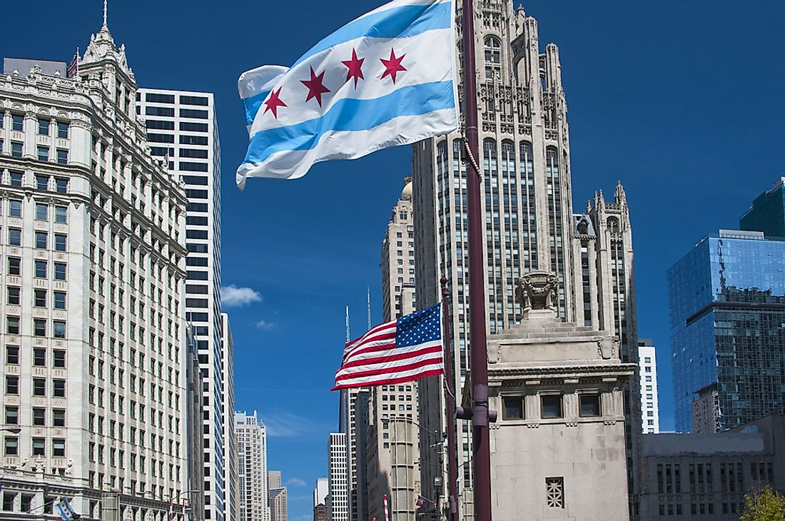 Downtown Chicago with the flag of the city in view.