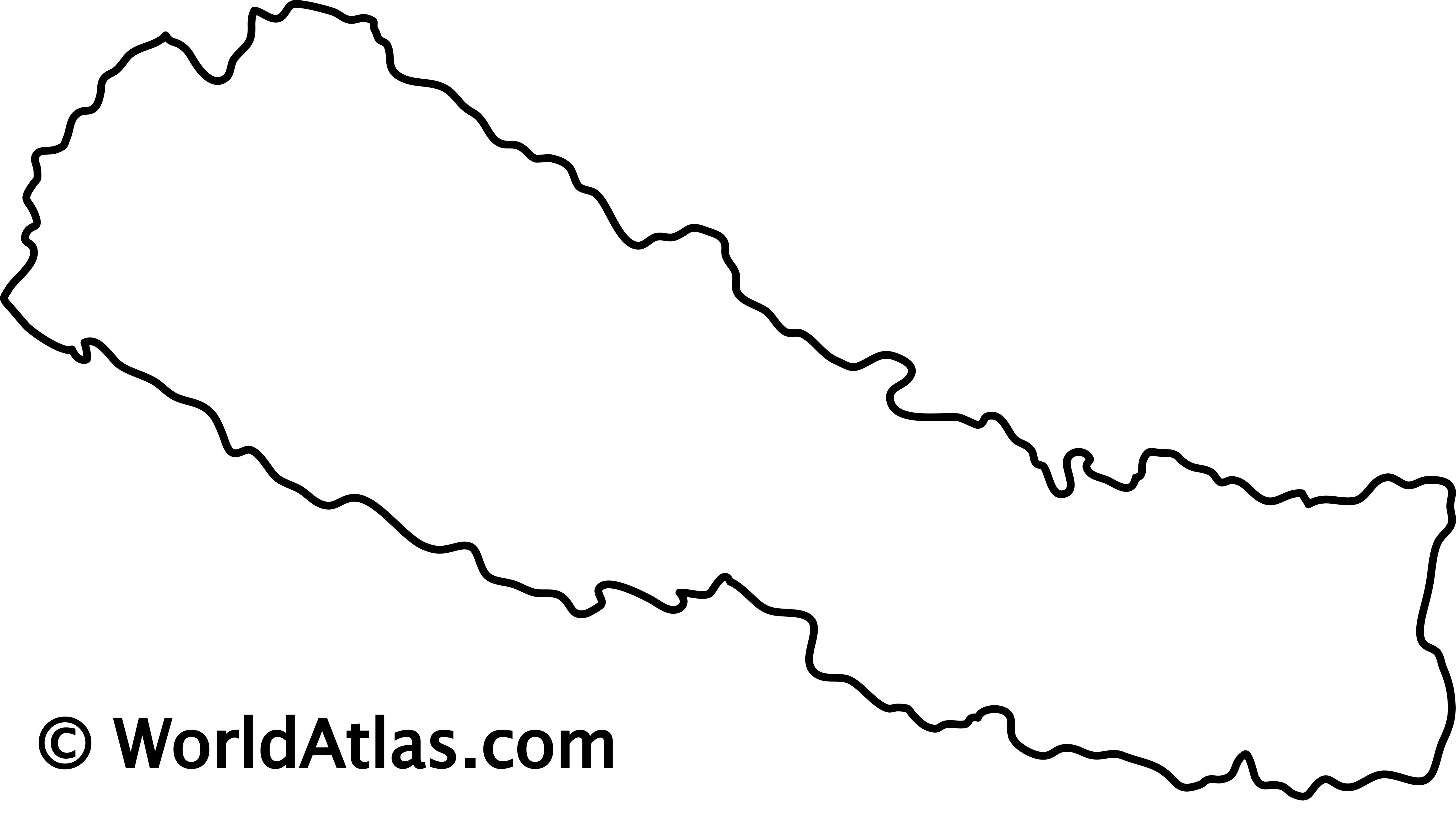 Blank Outline Map of Nepal
