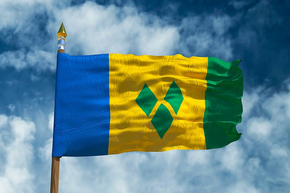 The diamonds on the flag represent Saint Vincent as the gems of the Antilles.
