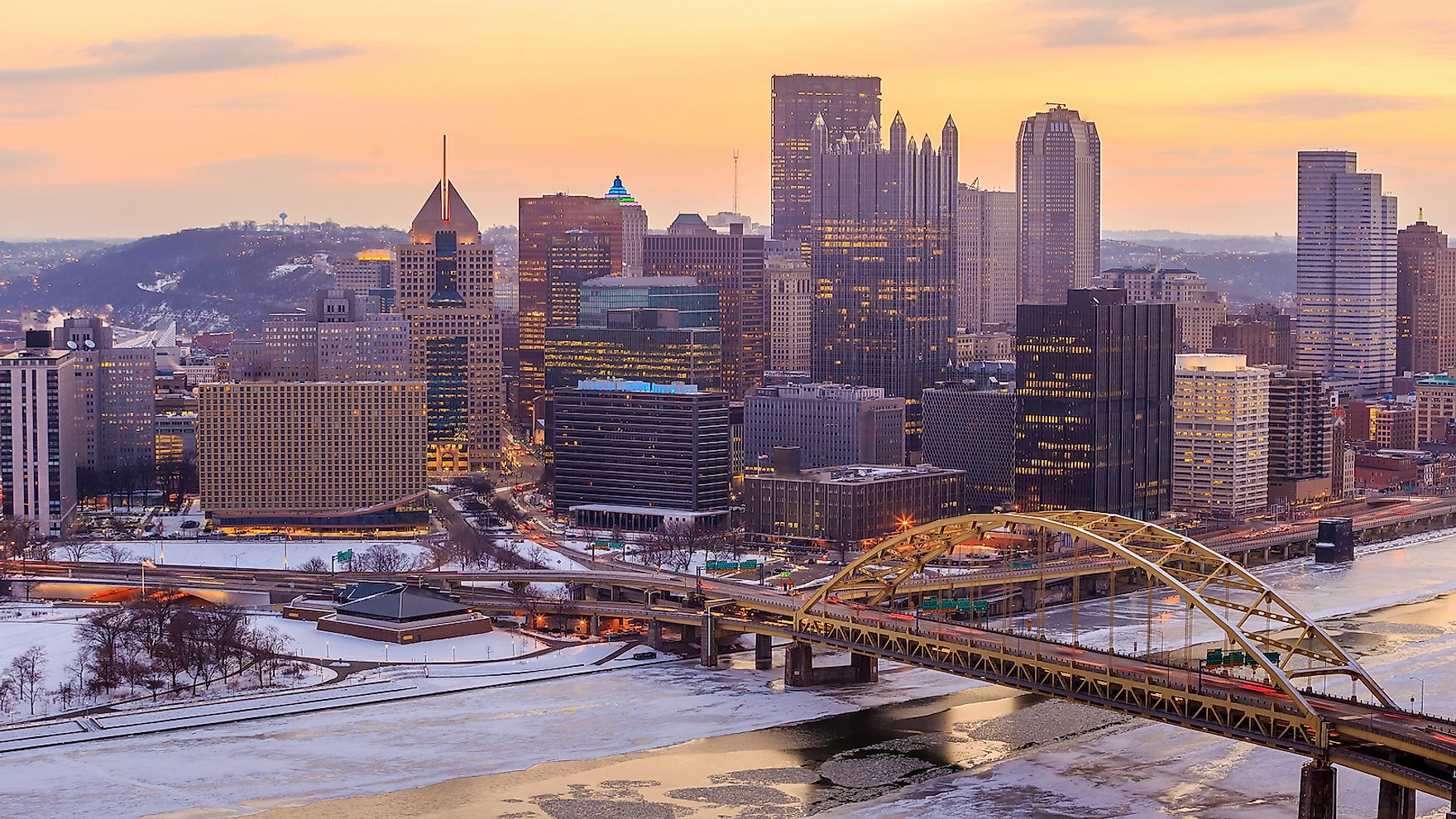 Skyline of downtown Pittsburgh at sunrise.