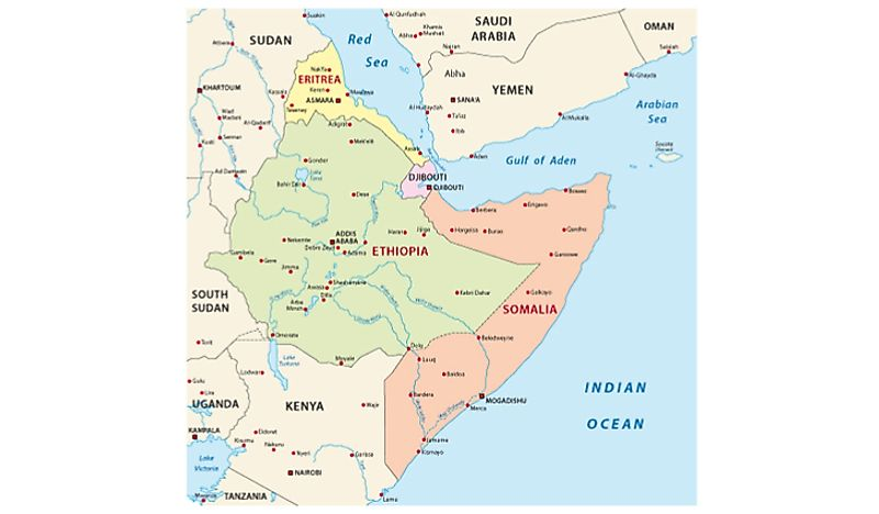 Map Of The Horn Of Africa Where Is The Horn Of Africa?   WorldAtlas