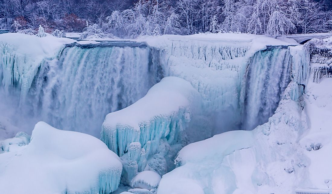 Ice forming around Niagara Falls.