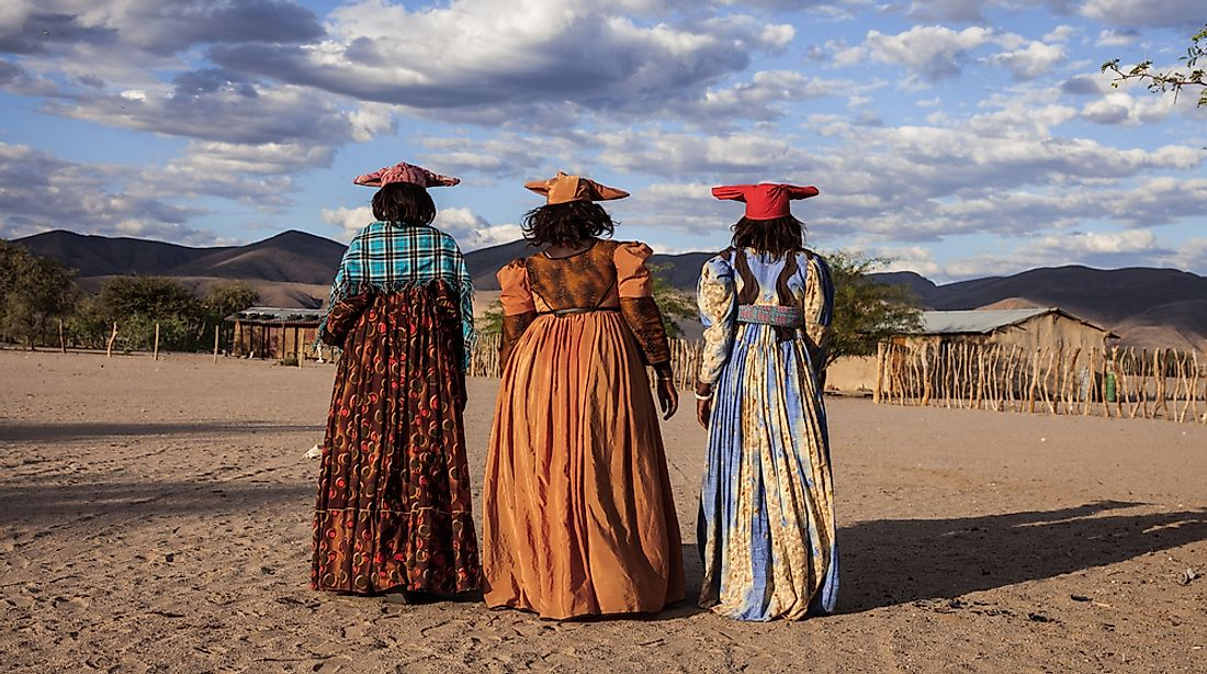Herero women in traditional clothing in Namibia.
