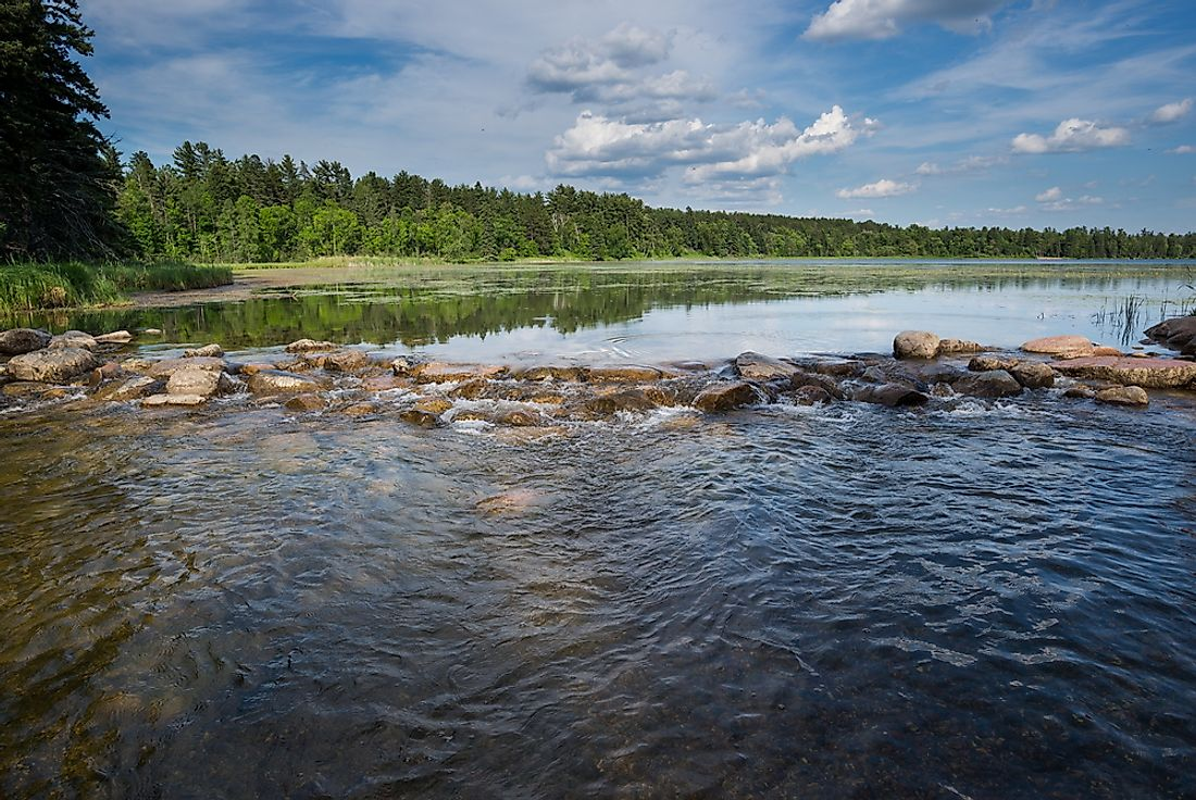 The headwaters of the Mississippi River at Lake Itasca in Minnesota.