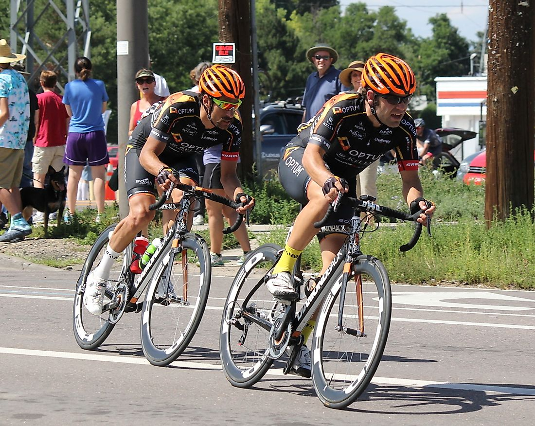 Two cyclists race in Denver. Known for their physically active lifestyles, Coloradans have the lowest diabetes rates in the US.