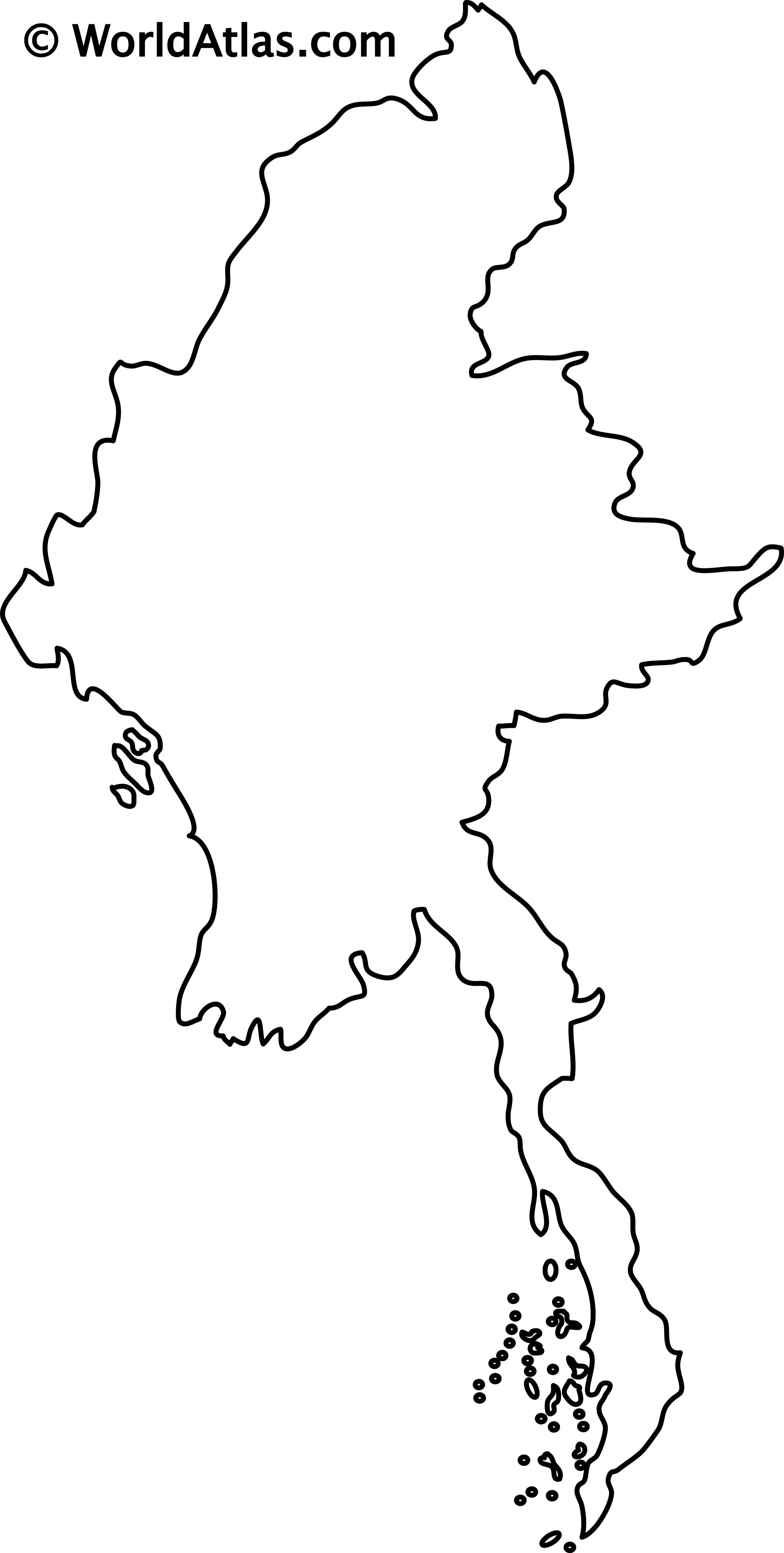 Blank Outline Map of Myanmar/Burma