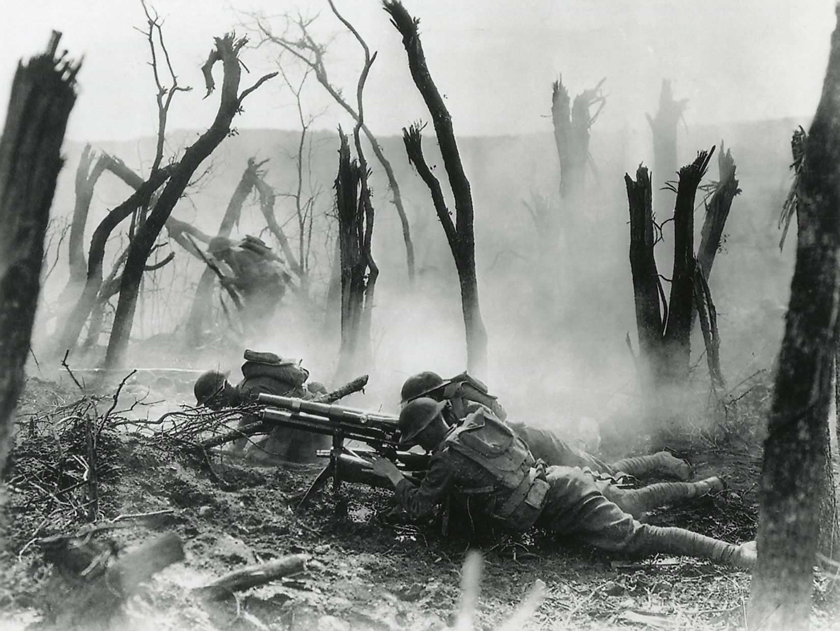World War 1. American gun crew from the 23rd Infantry, firing a French 37mm cannon in World War I action in Belleau Wood. June 3, 1918. Image source: Everett Collection/Shutterstock.com