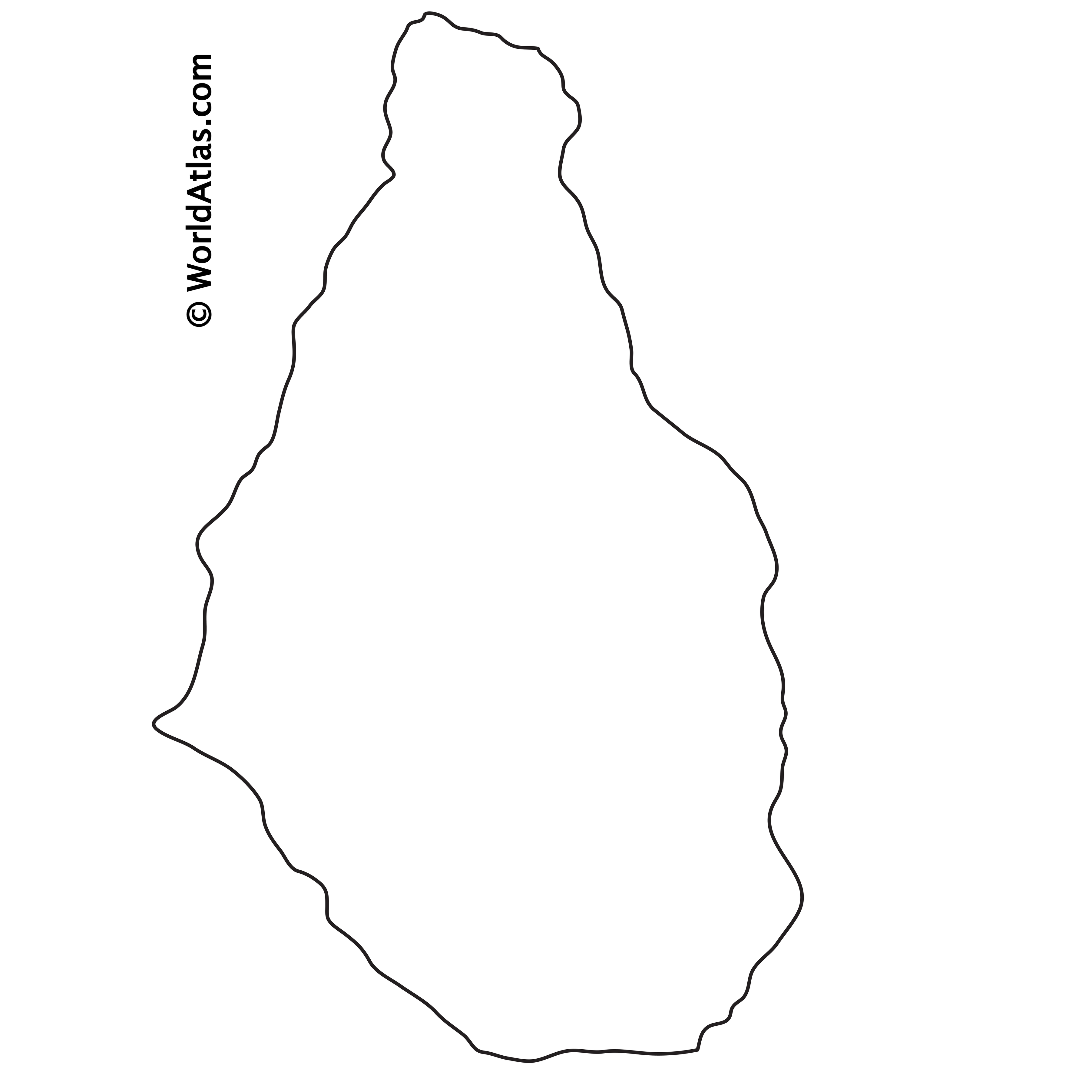 Blank Outline Map of Montserrat