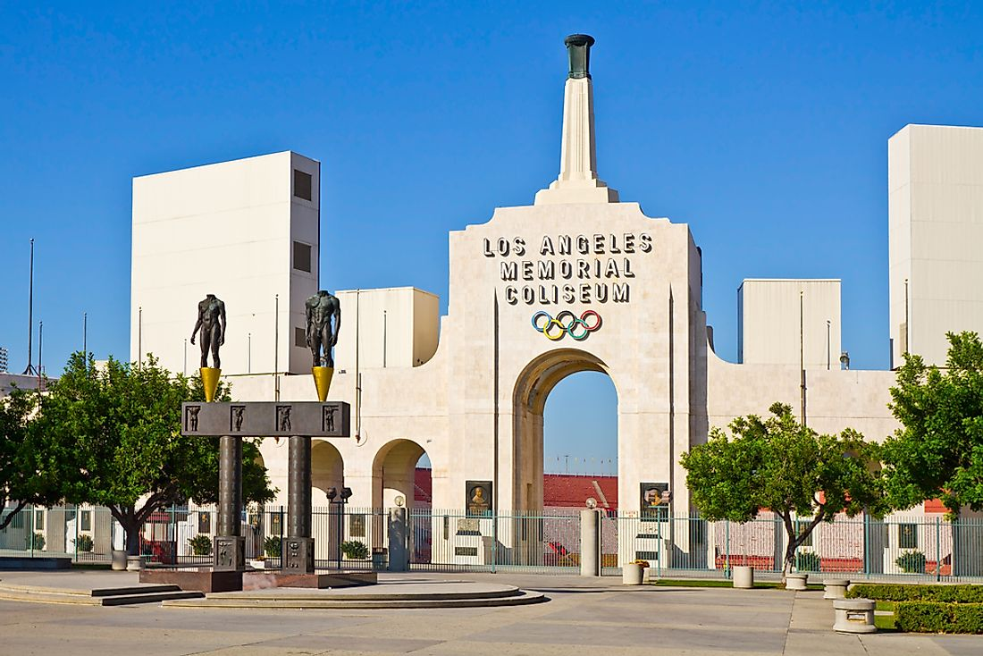 The Los Angeles Memorial Coliseum in California, U.S.A. has hosted two Summer Olympic Games (1932 and 1984). Editorial credit: Gerry Boughan / Shutterstock.com.