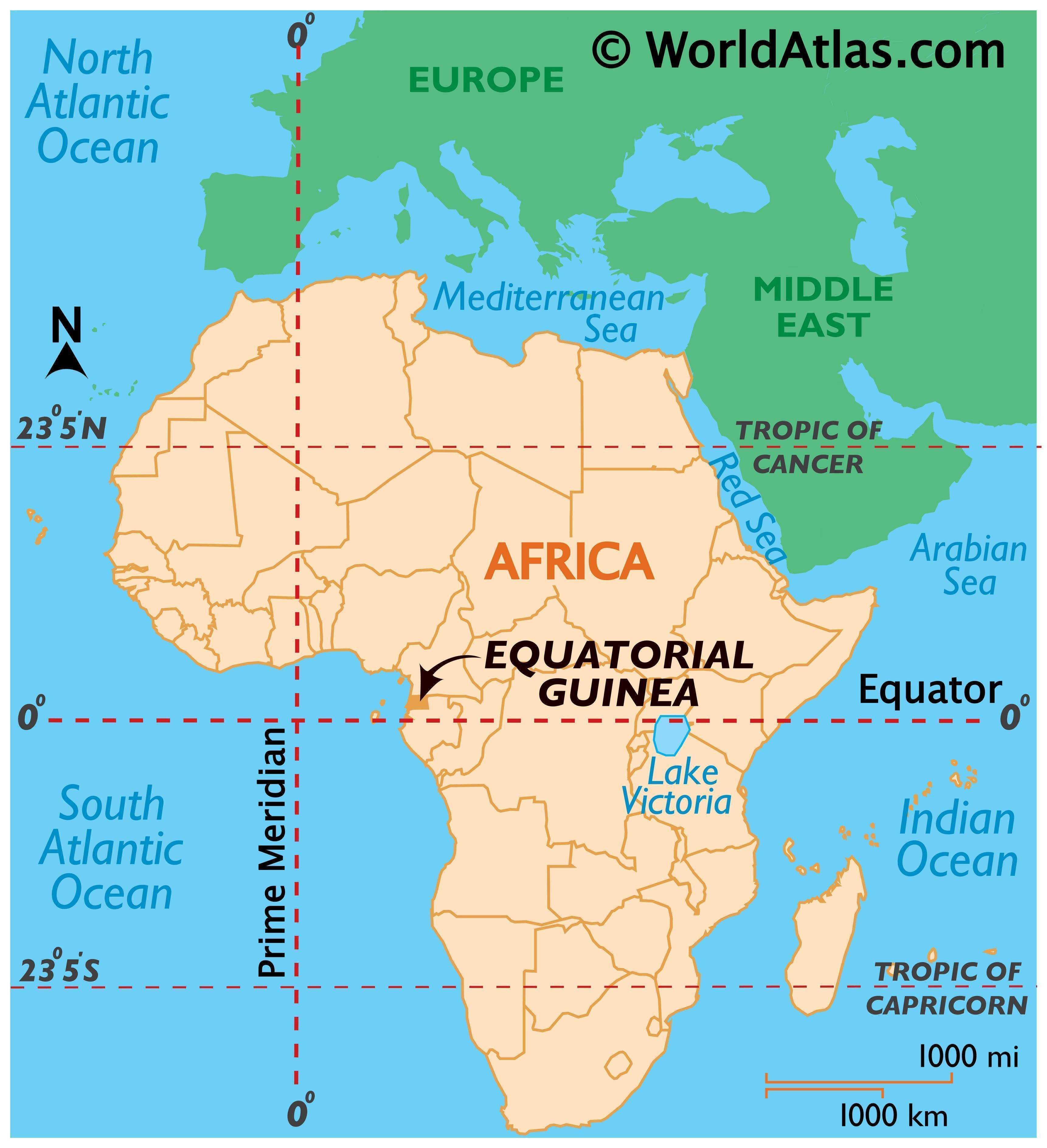 Map showing location of Equatorial Guinea in the world.