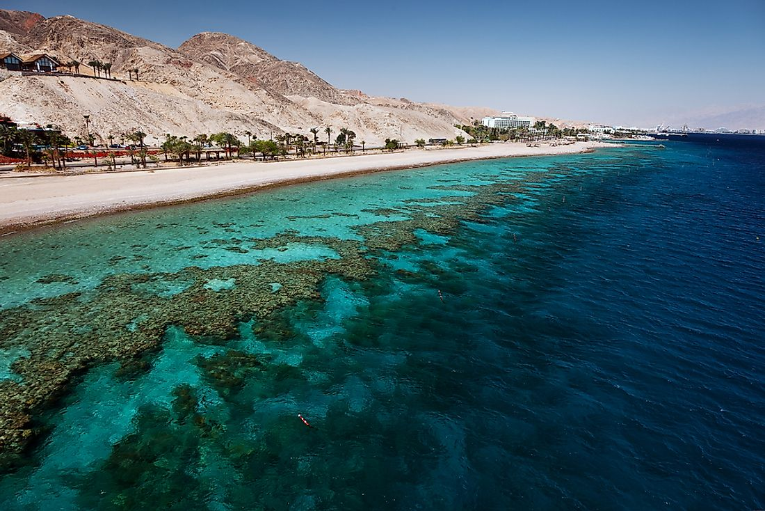 The blue waters of the Red Sea along the beach in Eilat, Israel.