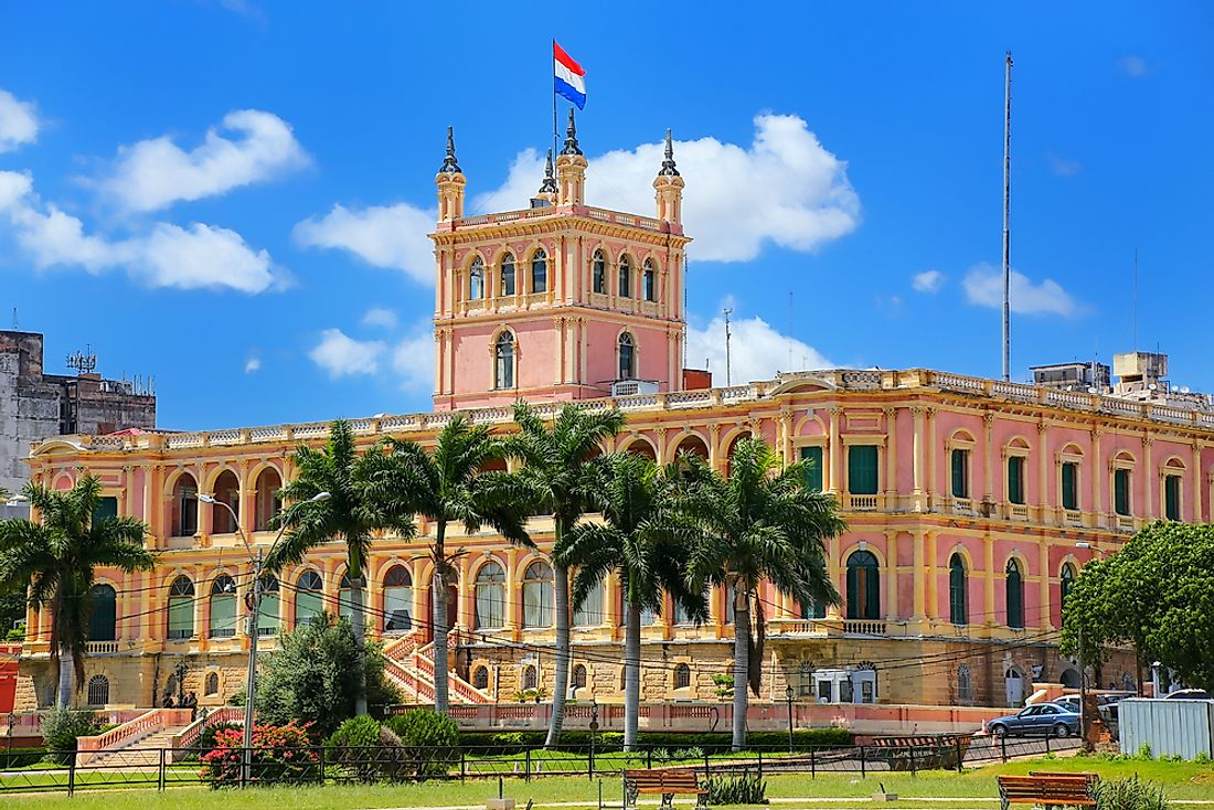 The presidential palace in Asuncion, Paraguay.