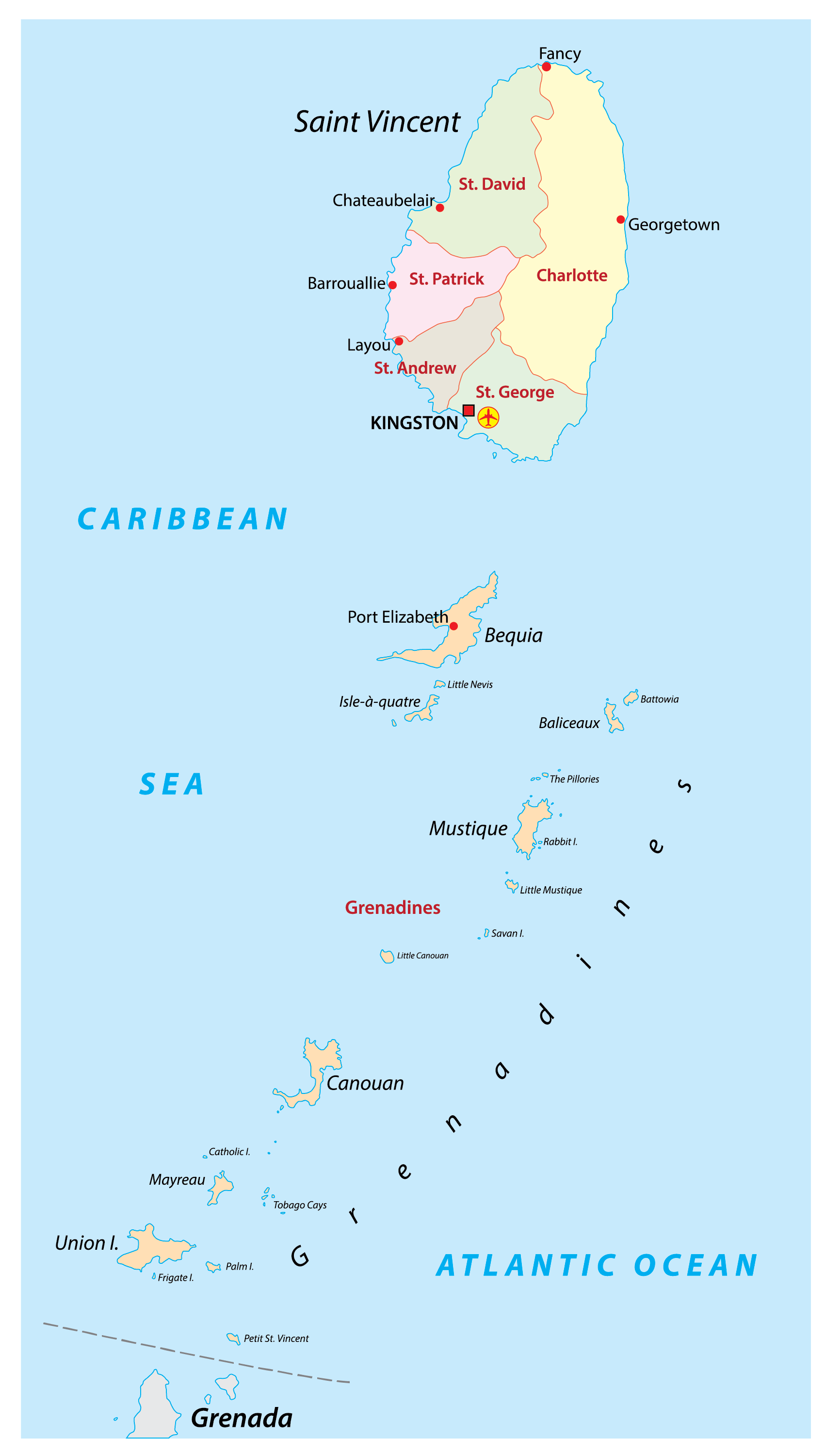 Political Map of St. Vincent and the Grenadines showing its 6 parishes and the capital city of Kingstown.