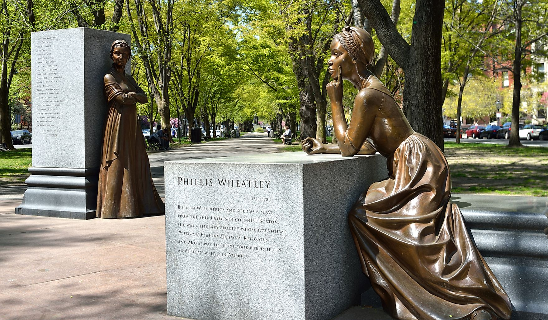 Phillis Wheatley and Abigail Adams at the Boston Women's Memorial in Back Bay, Boston, a monument celebrating women's history in the USA. Editorial credit: Jorge Salcedo / Shutterstock.com