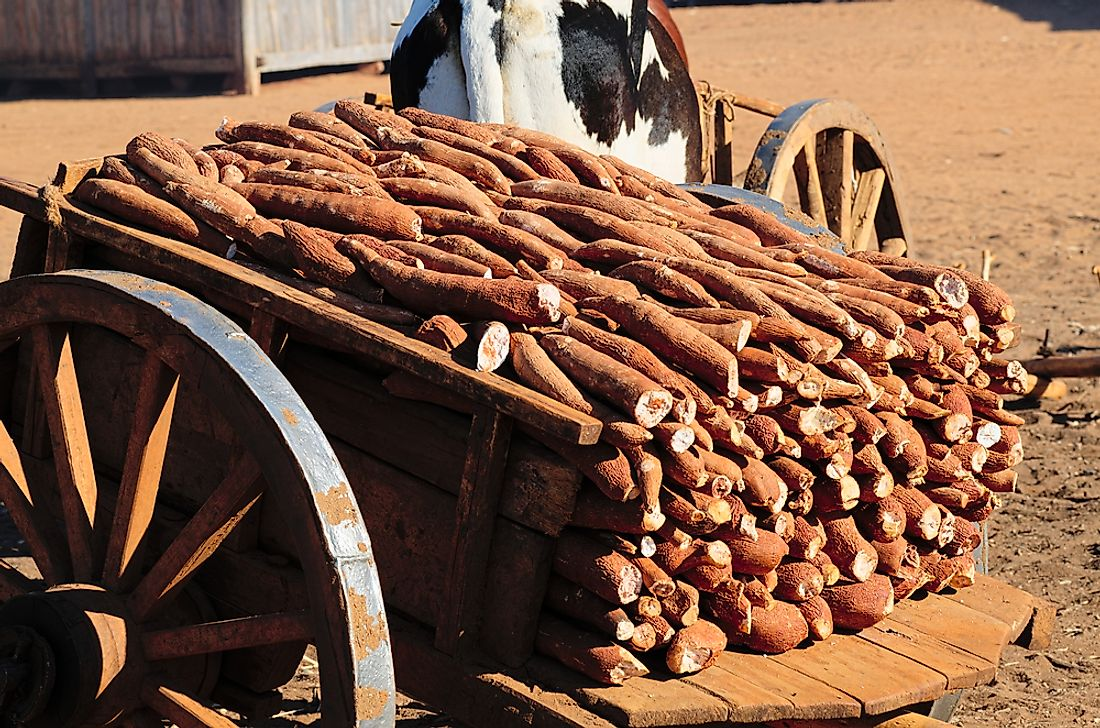 A cart loaded with cassava in Madagascar.