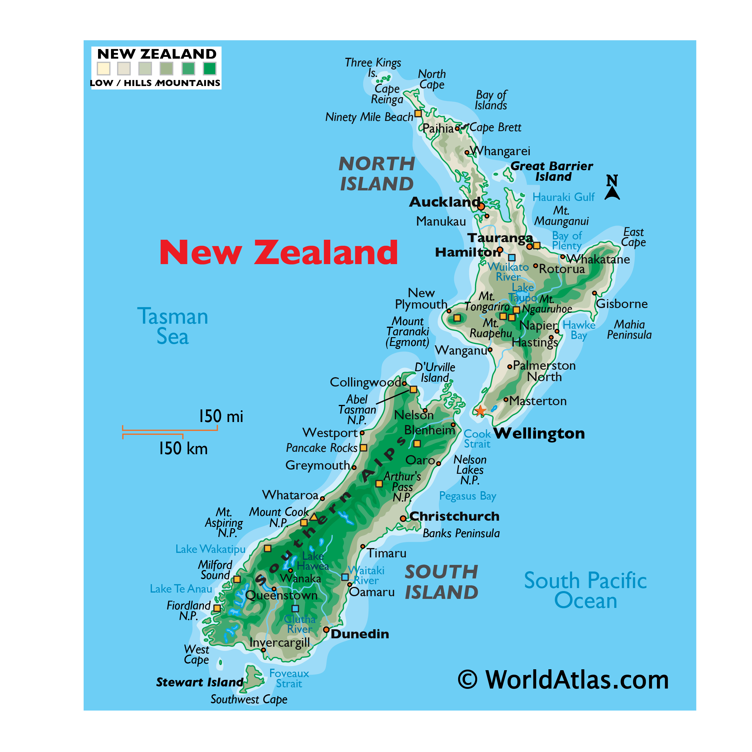 Physical Map of New Zealand showing relief, mountains, major islands, capes, national parks, rivers, important cities, and more.