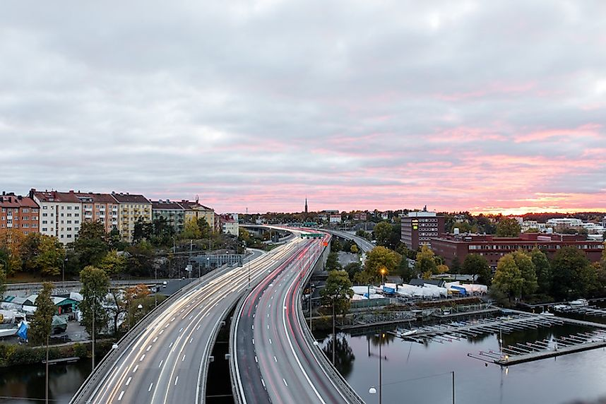 A highway in Fredhall, Stockholm, Sweden.