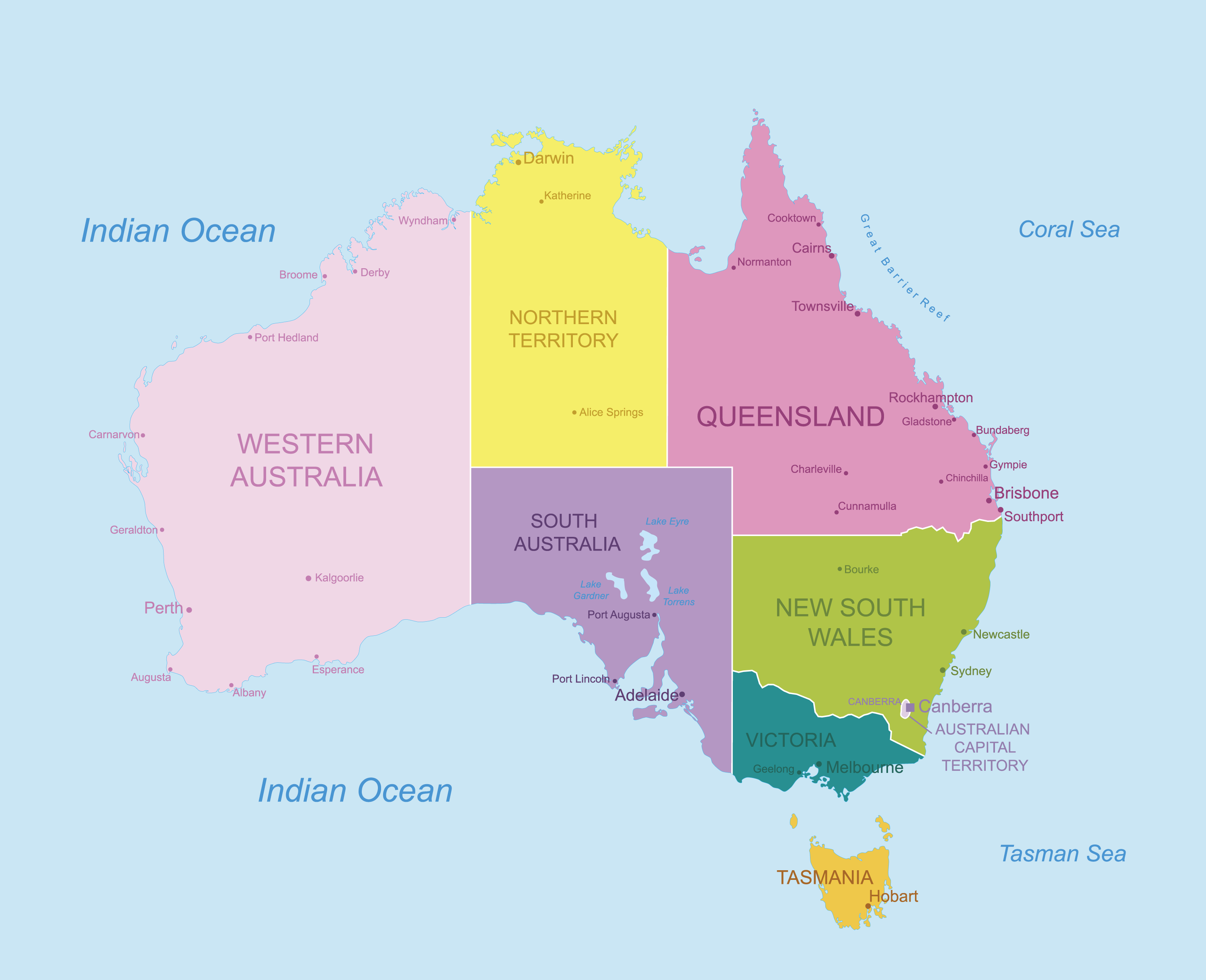Political Map of Australia showing its 6 states and 2 major territories and the capital city of Canberra