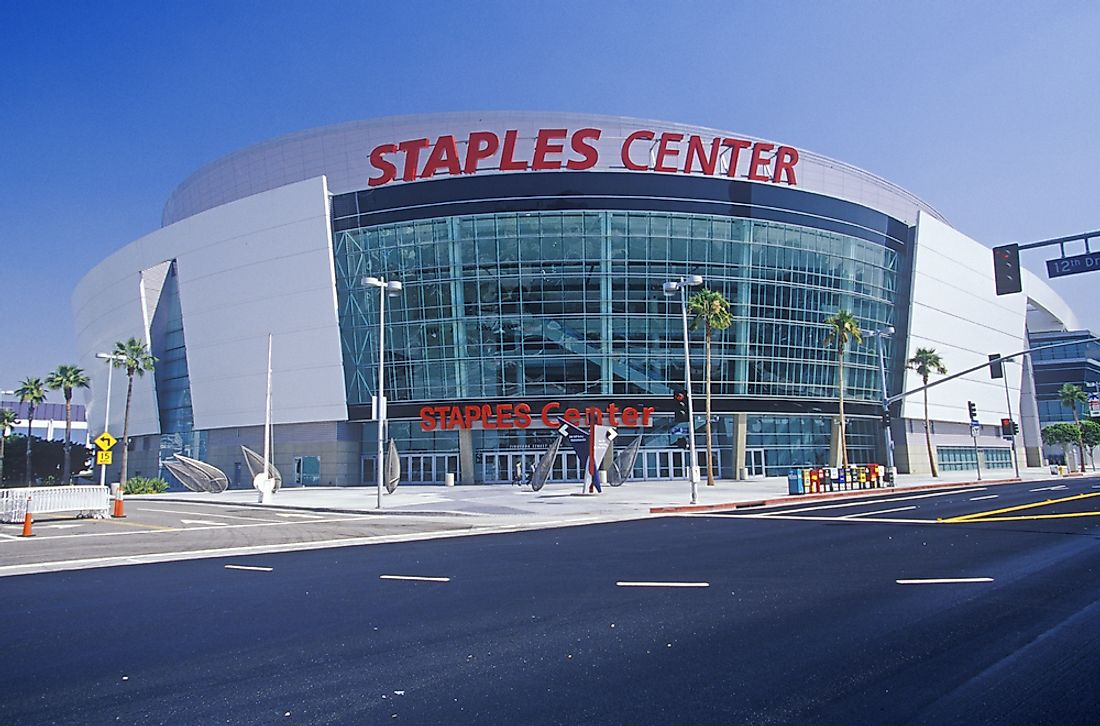 The Staples Center is the home of the LA Lakers (NBA), LA Clippers (NBA), LA Kings (NHL), and the LA Sparks (WNBA).  Editorial credit: Joseph Sohm / Shutterstock.com