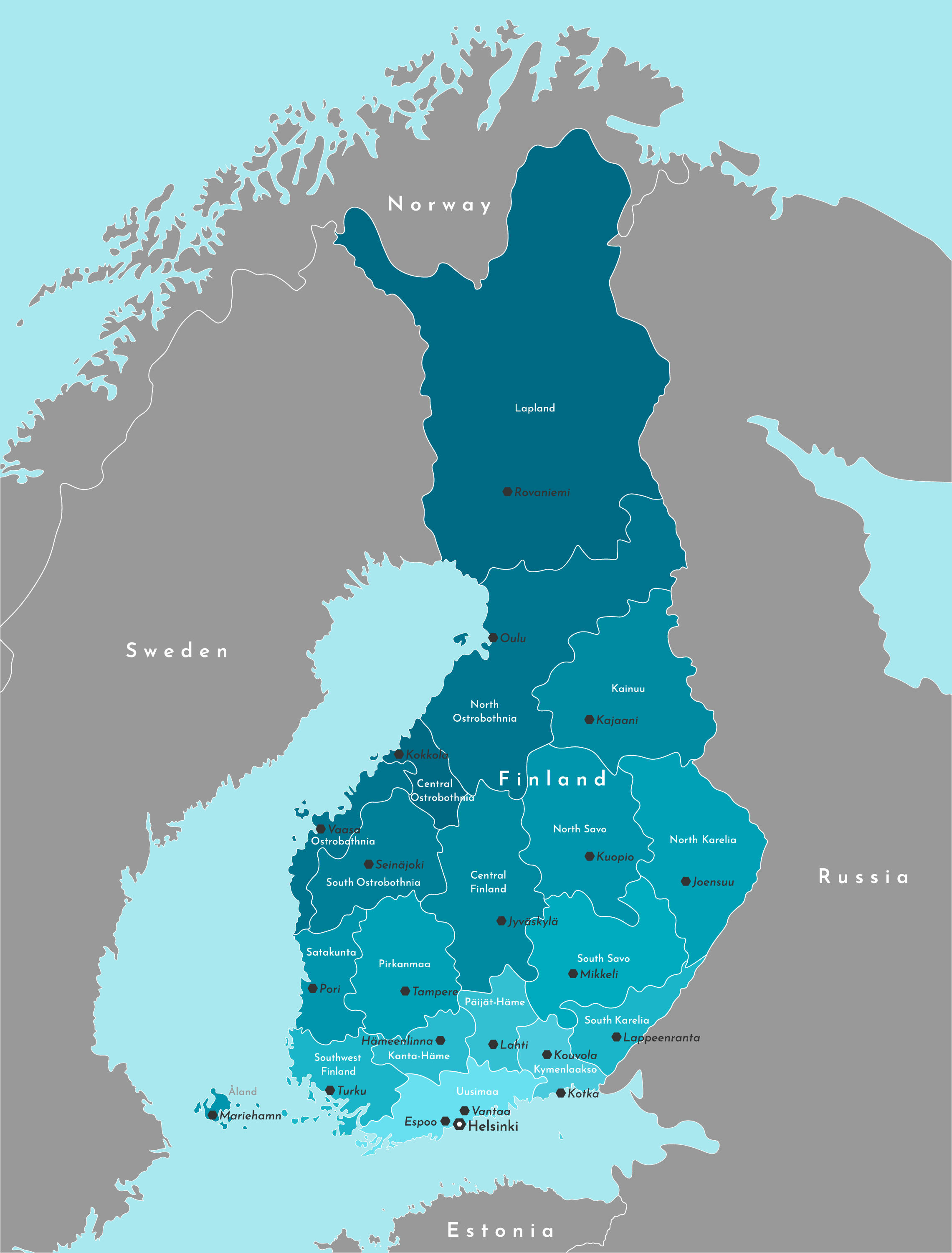 Political Map of Finland showing its 19 regions and the capital city of Helsinki