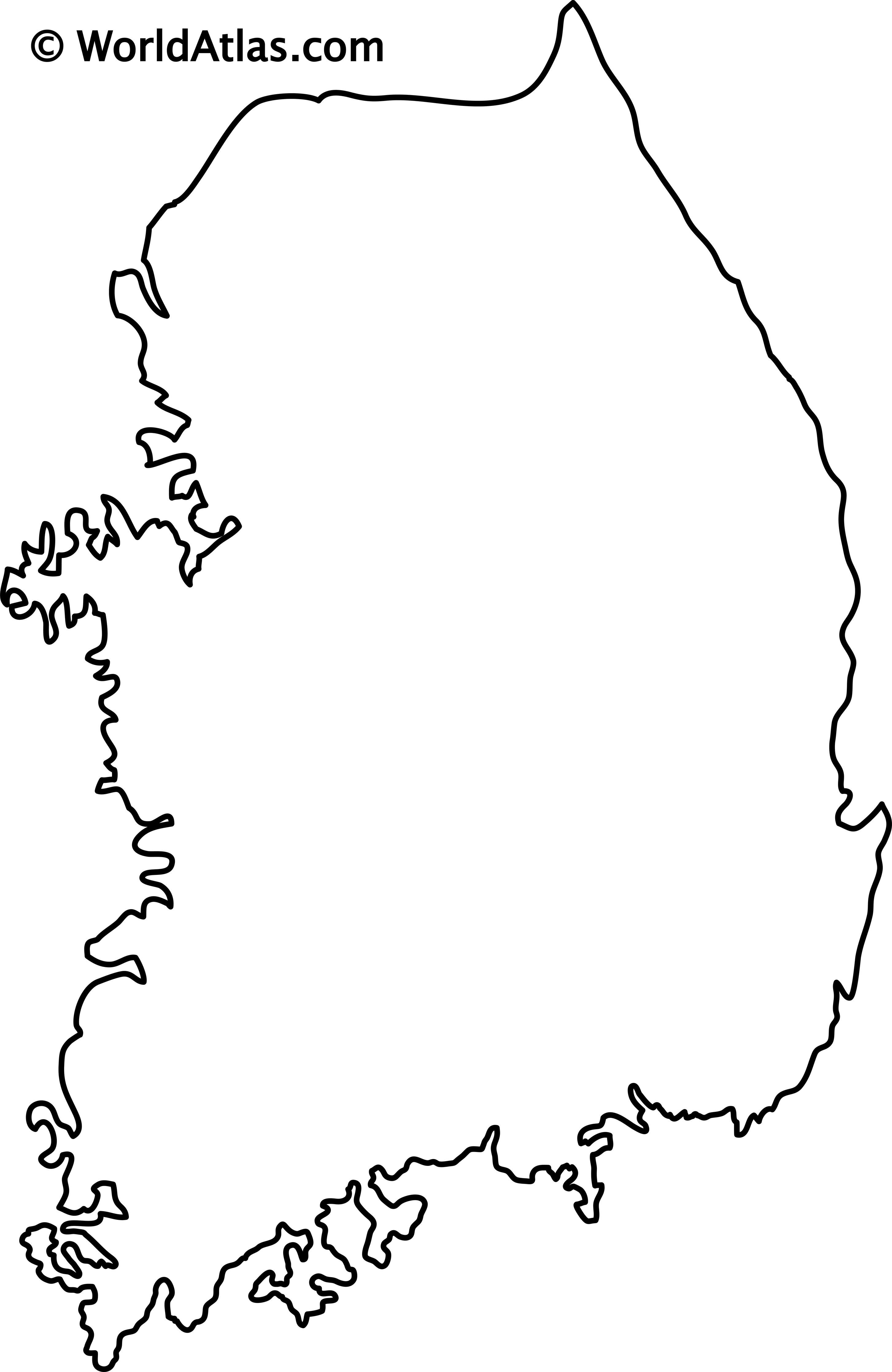 Blank Outline Map of South Korea