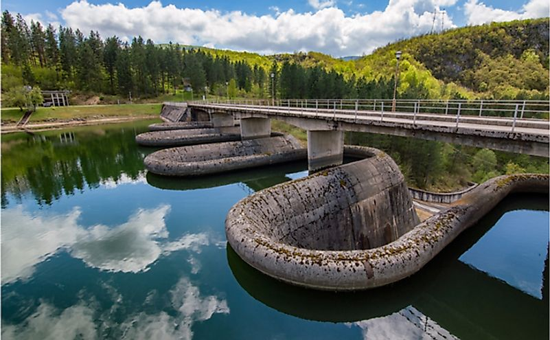 Dam on the Radoinja Lake, part of the Special Nature Reserve Uvac on the slopes of the Zlatibor mountain in southwestern Serbia.
