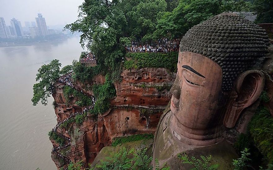 The ​spectacular ​Leshan Buddha​ is one of the wonders of China.
