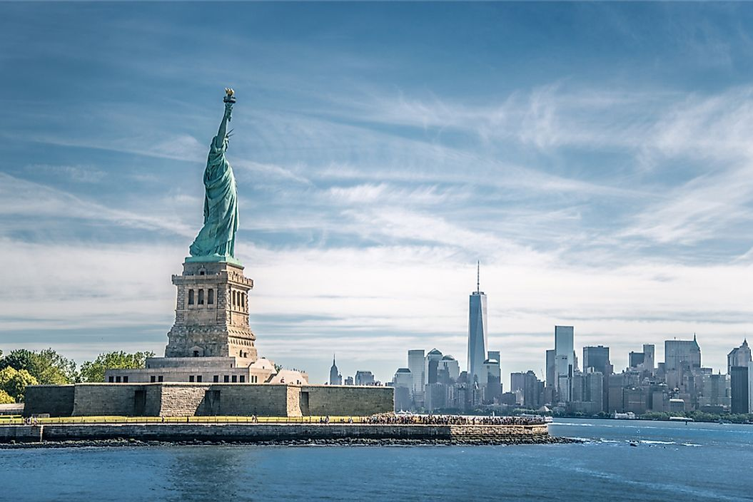 The Statue of Liberty in New York Harbor, New York City.