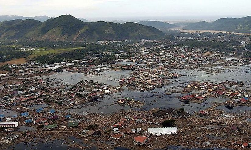 Aceh in Indonesia, the most devastated region struck by the tsunami.