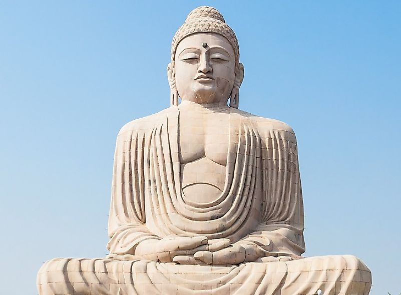 Massive statue of the Buddha at Mahabodhi Temple in Bodh Gaya, India, where the Buddha was said to have found enlightenment under a Bodhi tree.