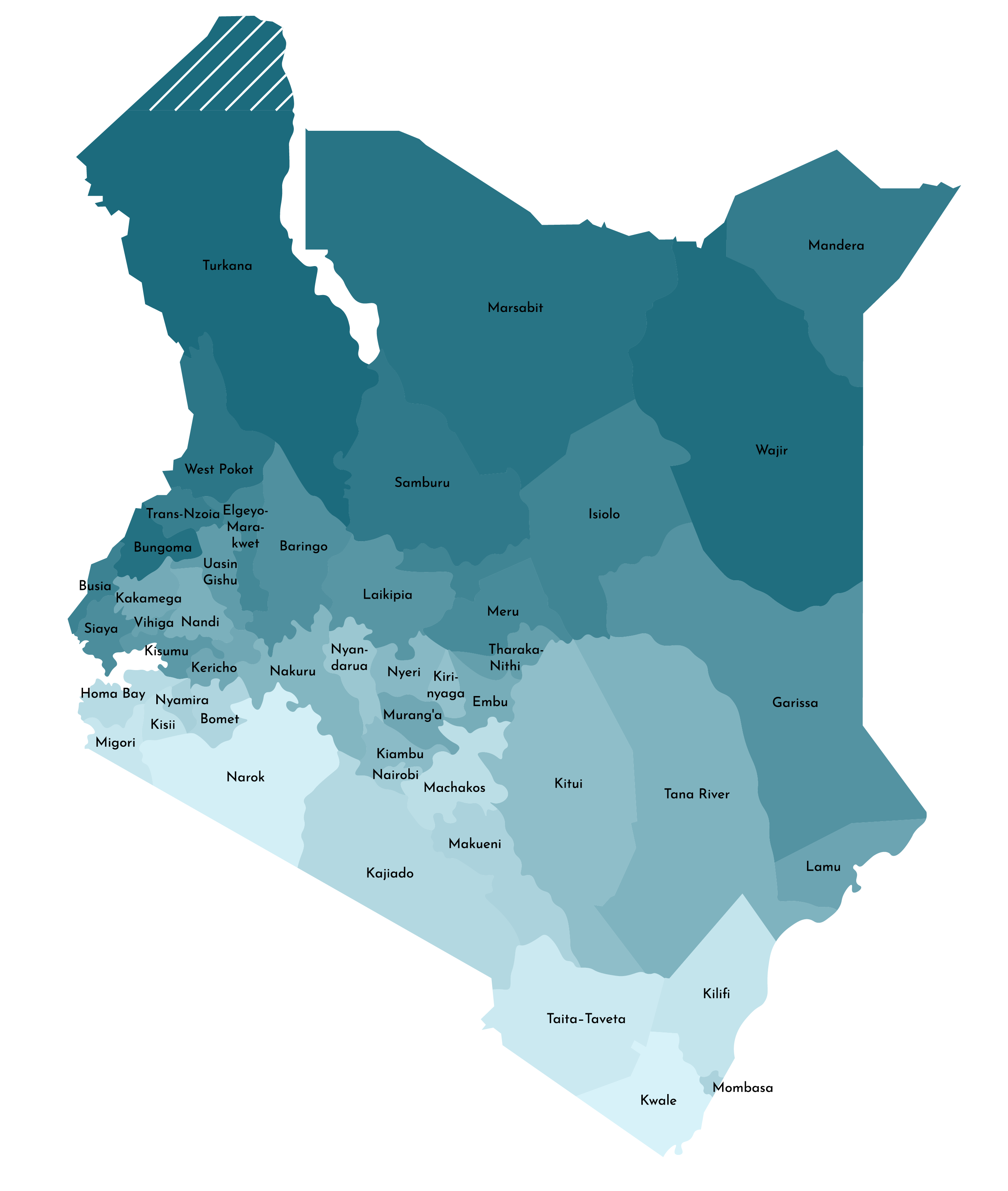 Political Map of Kenya displaying 47 counties including the national capital of Nairobi.