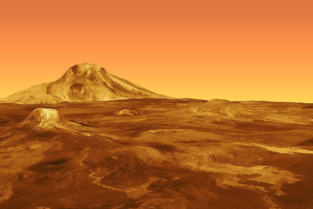 A 3D rendering of the surface of Venus.