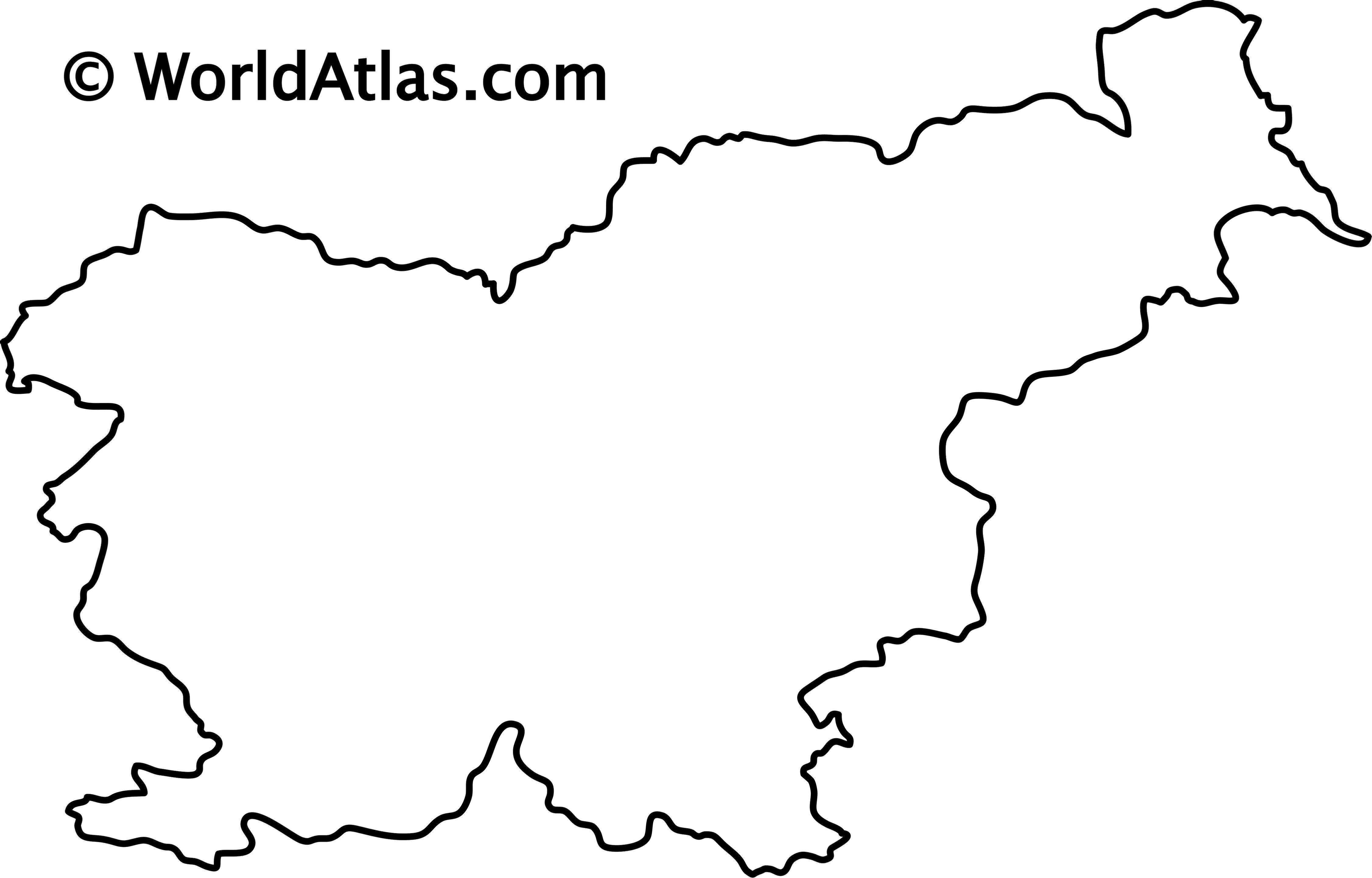 Blank Outline Map of Slovenia