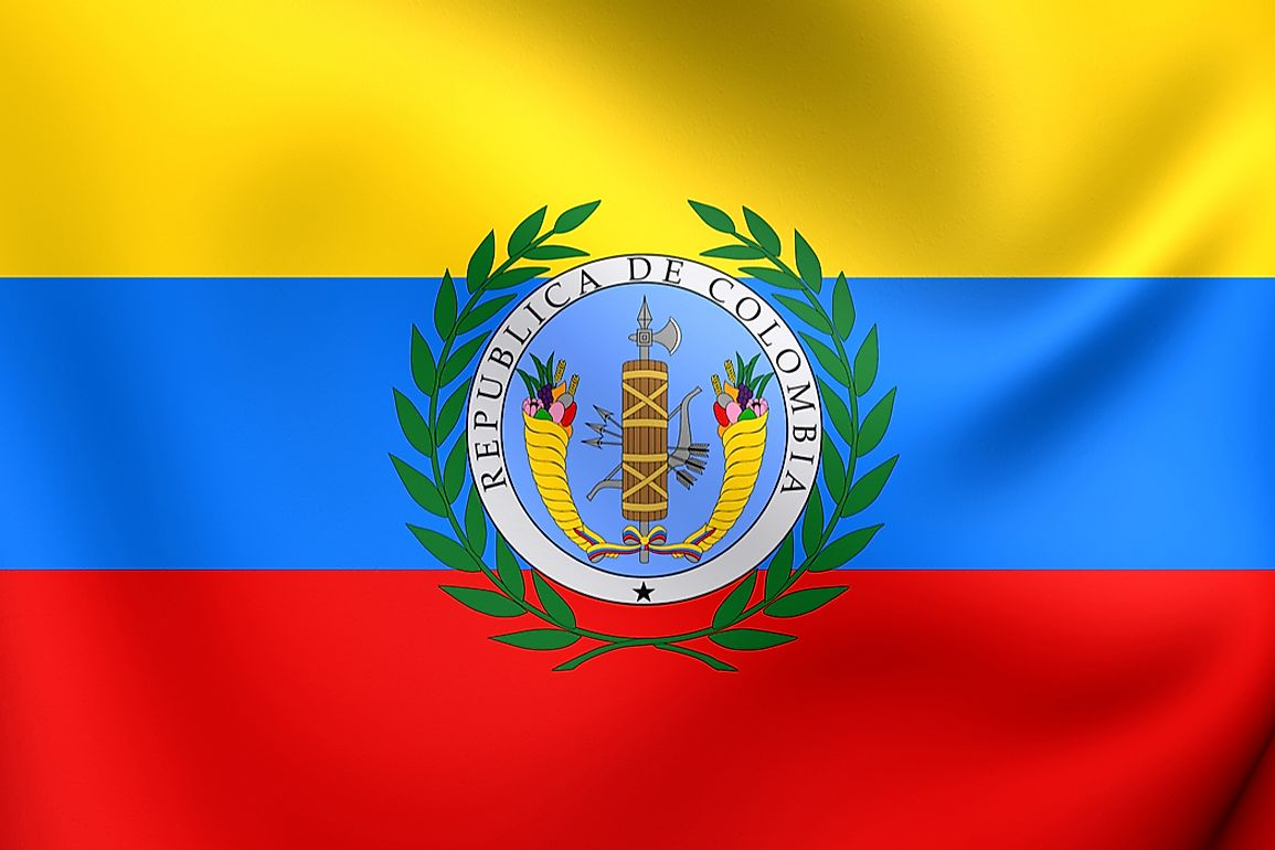The flag of the former Gran Colombia.