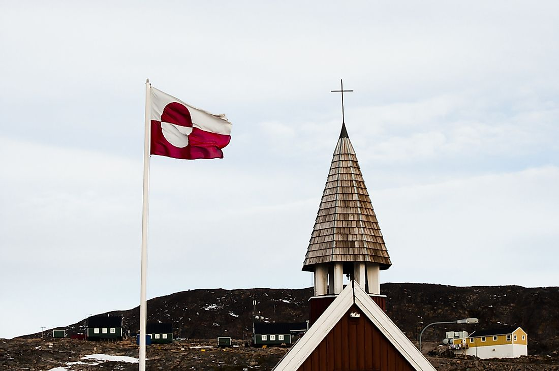 The flag of Greenland flying in Greenland.