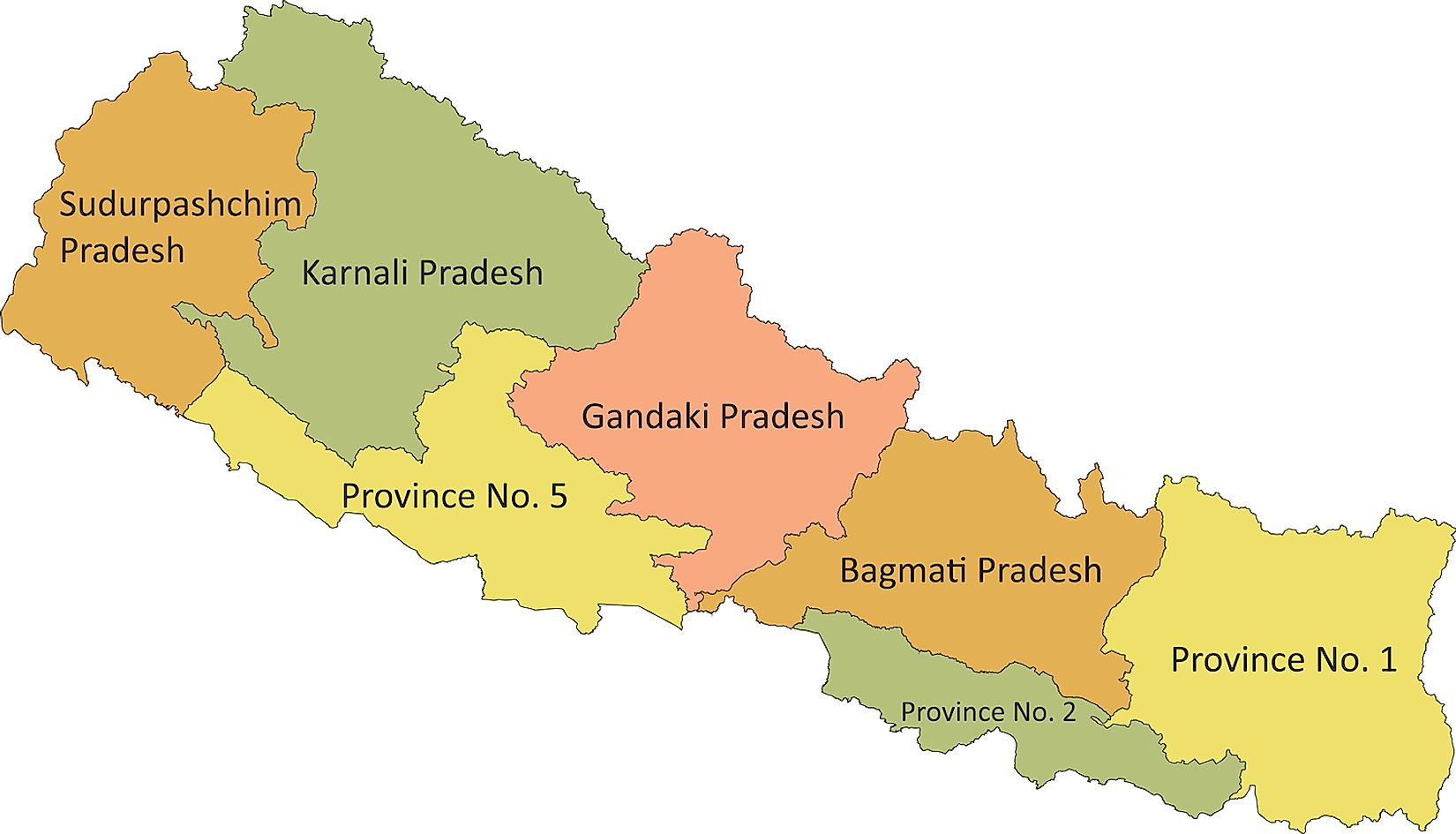 Political Map of Nepal showing its 7 administrative provinces.