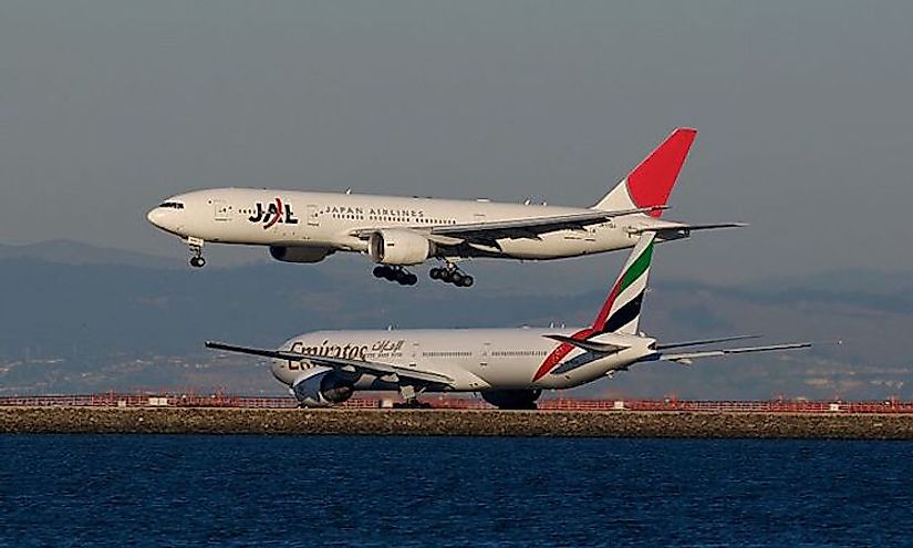 Flights of Japan Airlines and Emirates, both well-known for providing quality air travel.