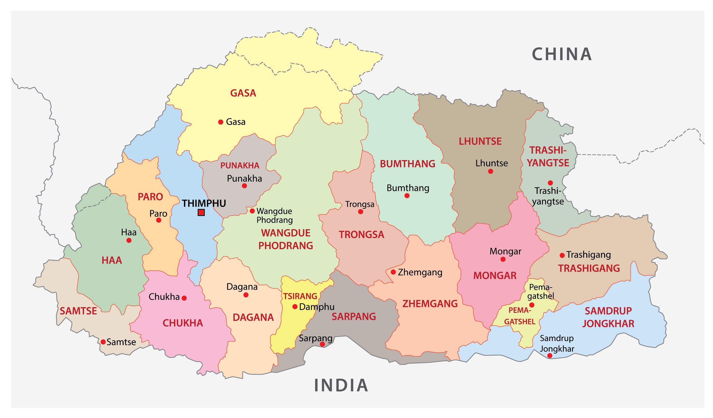 Political Map of Bhutan showing the 20 districts of the country, their capitals, and the national capital of Thimpu.