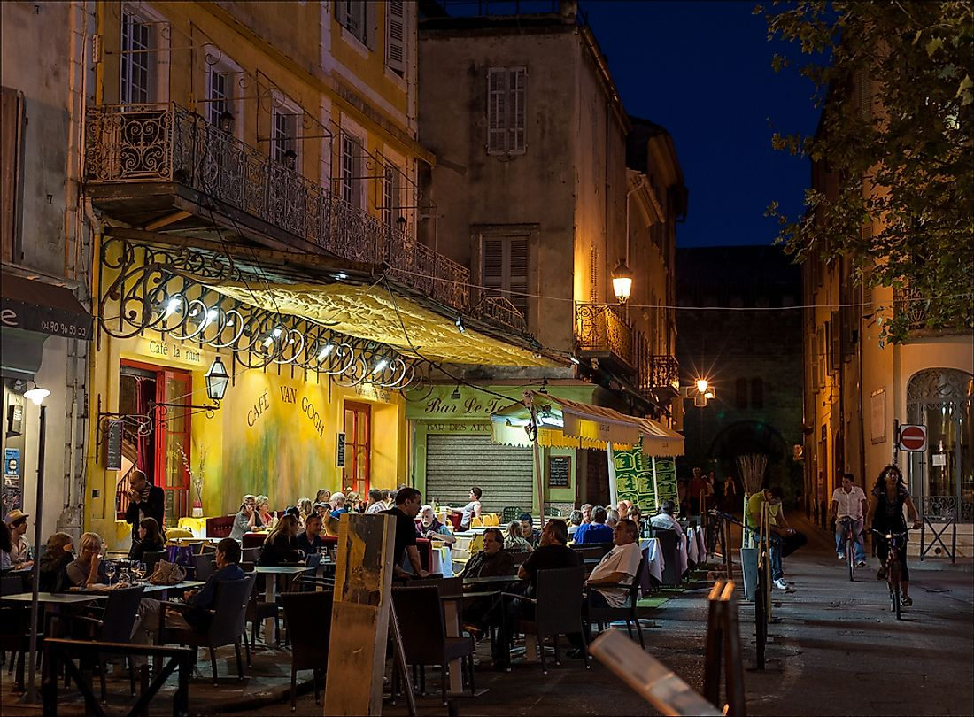 Editorial credit: ladderadder / Shutterstock.com. The Cafe Van Gogh in Provence was the inspiration for Van Gogh's painting.
