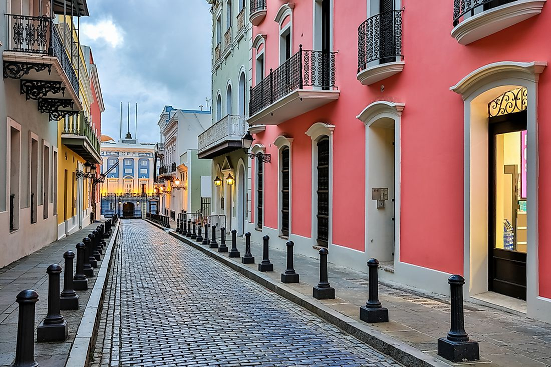 A street in old San Juan, the capital city of Puerto Rico.