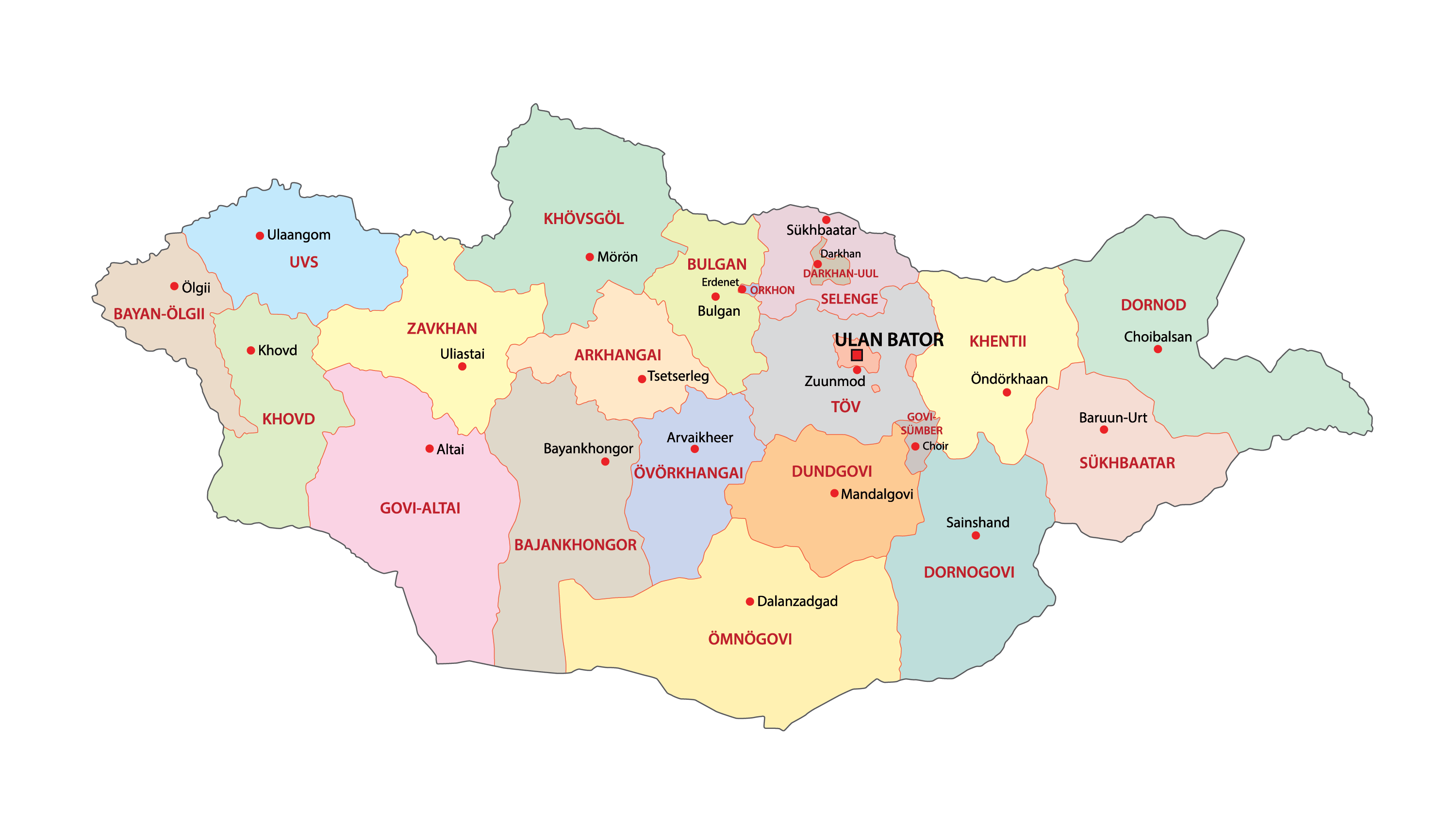 Political Map of Mongolia displaying the 21 administrative provinces and 1 provincial municipality including the national capital of Ulaanbaatar .