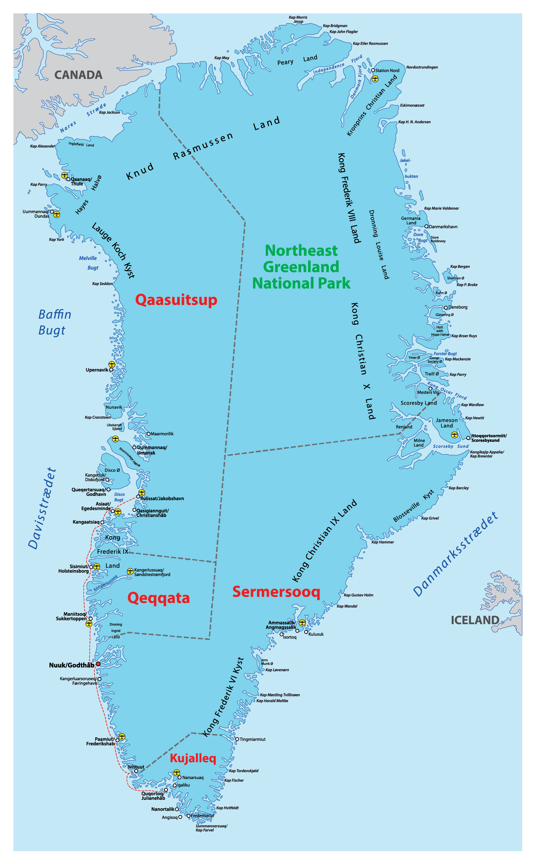 Political Map of Greenland showing its 5 municipalities and the capital city of Nuuk.