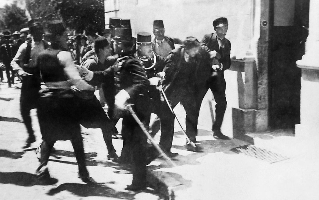 Arrest of Nedeljko Čabrinović for the attempted assassination of Archduke Franz Ferdinand and his wife.